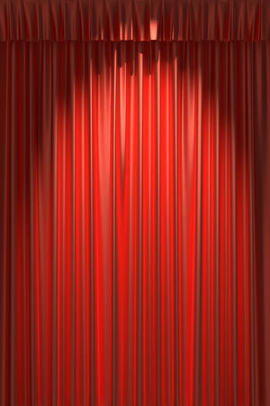 gathers: Red silk curtain with gathers under the spot light Stock Photo