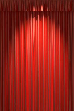 gathers: Tenda di seta rossa con riprese sotto la luce spot