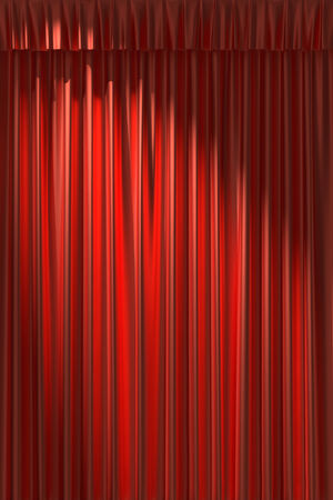 gathers: Red silk curtain with gathers under the diagonal spot light