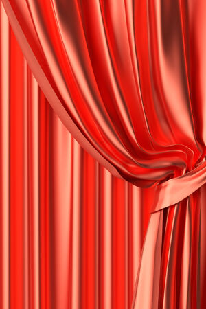 Red silk theater curtain with gathers under the lights fragment