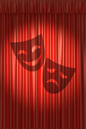 Red theater curtain with shadow of two masks with gathers under round spot light photo