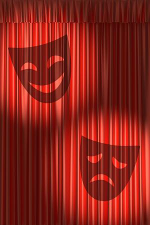 gathers: Tenda rossa del teatro con ombra di maschere con raccoglie meno di due faretti tondi