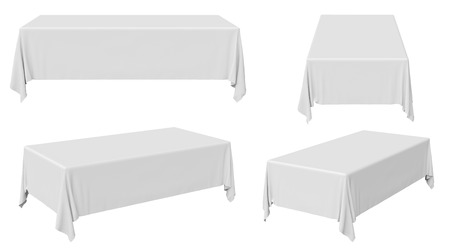 banquet table: White rectangular tablecloth set isolated on white, 3d illustration