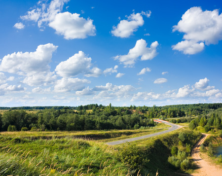 Road in countryside with trees and green grass around in sunny day under blue sky with white clouds photo