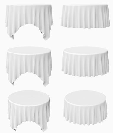 白い円形のテーブル クロス セット白地では、分離された 3 d イラストレーション
