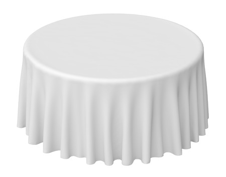 White round tablecloth isolated on white, 3d illustration