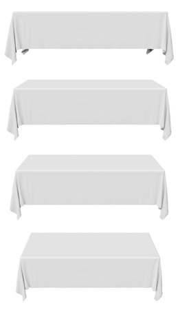 White rectangular tablecloth set isolated on white, front view, 3d illustration Zdjęcie Seryjne