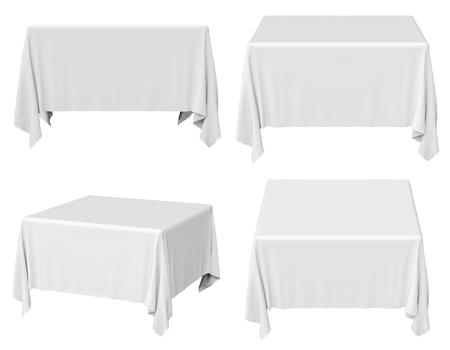 Weißes Quadrat Tischdecke isoliert auf weiss, 3D-Illustration Standard-Bild - 26378188