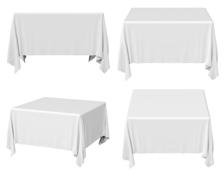 White square tablecloth set isolated on white, 3d illustration Stock Photo