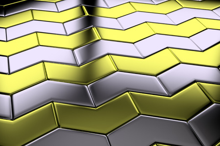Steel with gold blocks in shape of arrows flooring metal surface diagonal view shiny abstract industrial background Stock Photo
