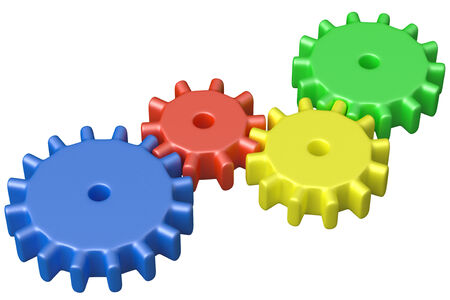 Preschool technical education concept: colorful plastic toys cogwheels construction isolated on white background 3D illustrarion