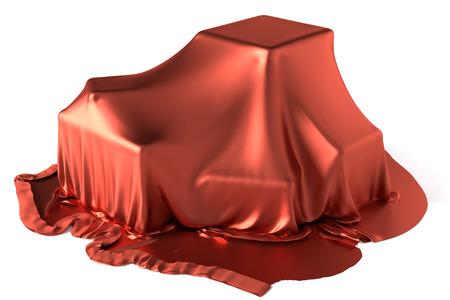 Certaines boîtes couvertes par un tissu de soie rouge Banque d'images - 26953537