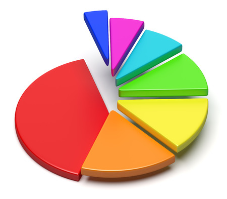 Creative abstract business statistics, financial analysis, success, growth and development concept: colorful 3D pie chart with flying separated segment in the shape of ascending stairs Stock Photo