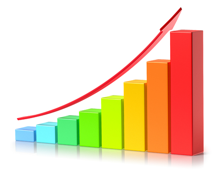 Abstract creative statistics, financial growth, business success and development concept: bright colorful growing bar chart with red up arrow on white background with reflection, 3d illustration