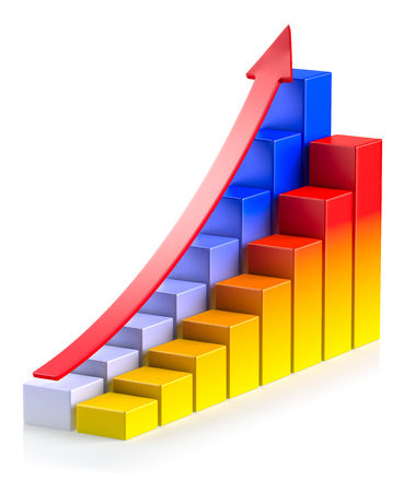 bright growing colorful bar chart in two rows with red up arrow on white background photo