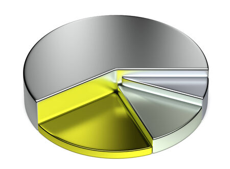 Abstract creative business statistics, financial analysis, precious metal trading concept: growing metallic 3D pie chart on white background photo