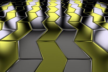 floor covering: Steel with gold arrow blocks flooring perspective view shiny abstract  Stock Photo