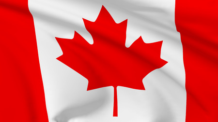 canadian flag: National flag of Canada flying in the wind, 3d illustration closeup view