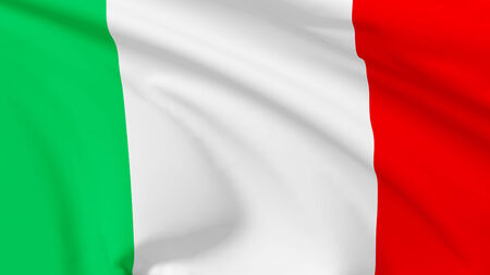 National flag of Italian Republic flying in the wind, 3d illustration closeup view illustration