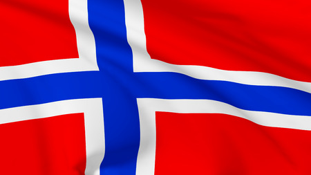National flag of Kingdom of Norway flying in the wind, 3d illustration closeup view illustration