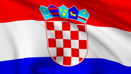 National flag of Republic of Croatia flying in the wind, 3d illustration closeup view illustration