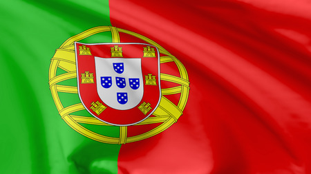National flag of Portugal (Portuguese Republic) flying in the wind, 3d illustration closeup view illustration