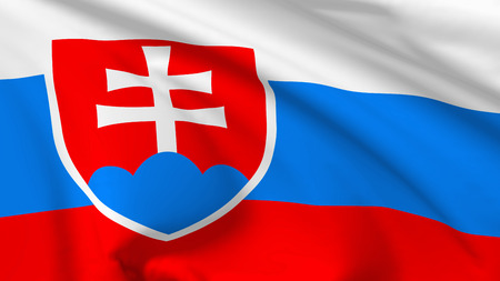 slovak: National flag of Slovakia (Slovak Republic) flying in the wind, 3d illustration closeup view Stock Photo