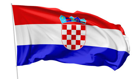National flag of  Republic of Croatia on flagpole flying in the wind isolated on white, 3d illustration illustration