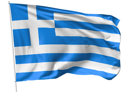 hellenic: National flag of Hellenic Republic (Greece) on flagpole flying in the wind isolated on white, 3d illustration