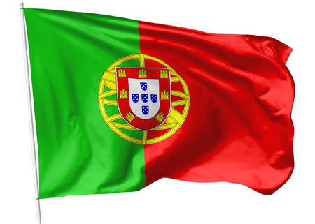 National flag of Portuguese Republic (Portugal) on flagpole flying in the wind isolated on white, 3d illustration illustration
