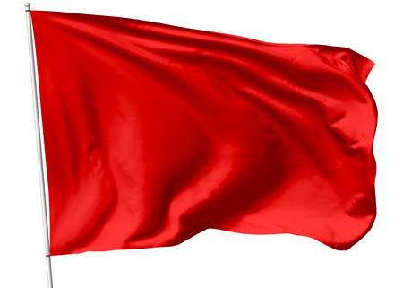 red: Red flag on flagpole flying in the wind isolated on white, 3d illustration