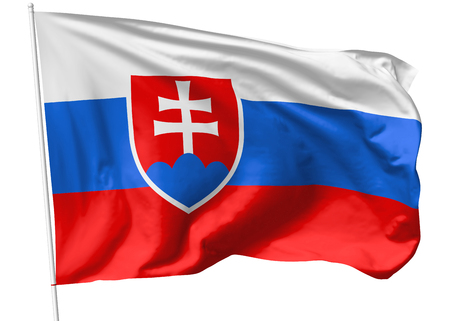 slovak republic: National flag of Slovak Republic (Slovakia) on flagpole flying in the wind isolated on white, 3d illustration Stock Photo