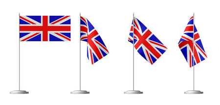 flagpole: Small table flag of United Kingdom of Great Britain on stand isolated on white, 3d illustrations set