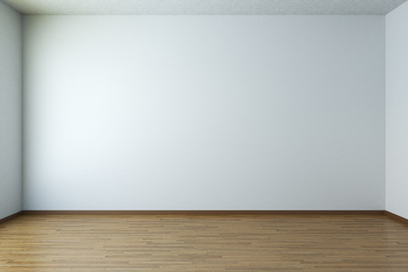 Empty room with white walls and wooden parquet floor Archivio Fotografico