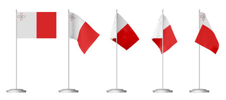 Small table flag of Malta on stand isolated on white, 3d illustrations set