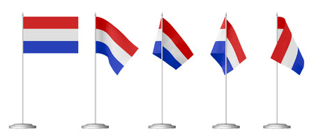 Small table flag of Netherlands on stand isolated on white, 3d illustrations set Banco de Imagens - 31355134