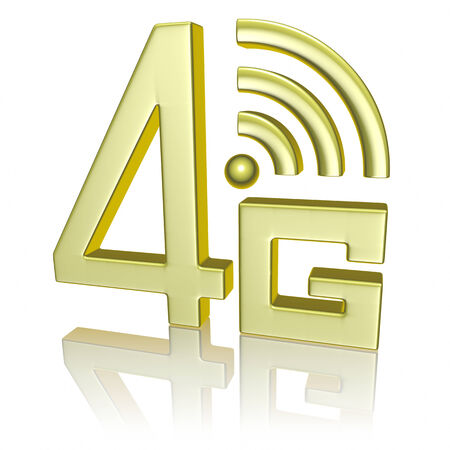 4g: Mobile high speed data connection telecommunication concept: golden abstract 4G LTE wireless communication technology icon symbol with reflection isolated on white background
