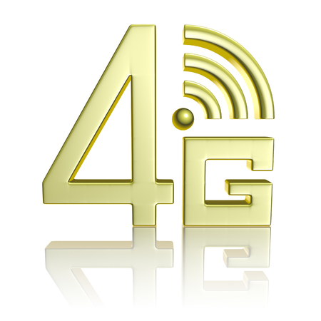 Mobile high speed data connection telecommunication concept: golden abstract 4G LTE wireless communication technology icon symbol with reflection isolated on white background photo