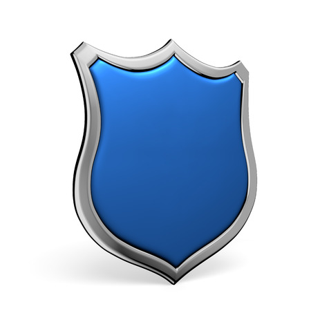 Protection, defense and security concept symbol: blue shield on isolated on white background Stock Photo
