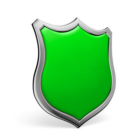 Protection, defense and security concept symbol: green shield on isolated on white background Stock Photo