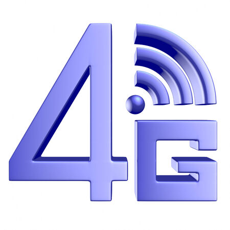 wireless communication: Mobile high speed data connection telecommunication concept: blue abstract 4G LTE wireless communication technology icon symbol isolated on white background Stock Photo