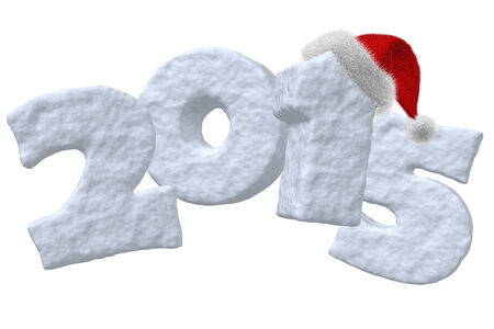 New Year 2015 sign made of snow with Santa Claus red hat isolated on white background 3d illustration illustration