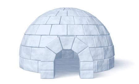 Iglo ijskelder op een witte achtergrond vooraanzicht van drie-dimensionale afbeelding