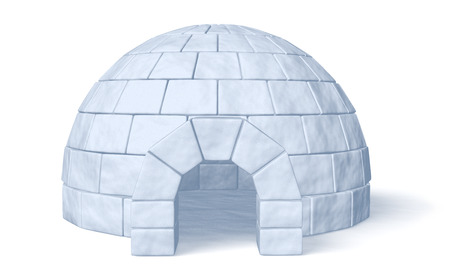 Igloo icehouse isolated on white background front view three-dimensional illustration Stock Photo