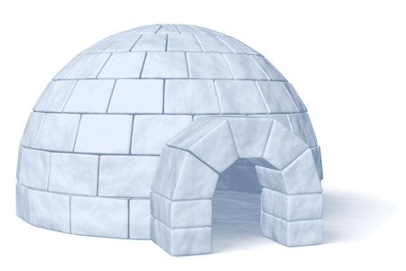 esquimales: Nevera Igloo aislado en fondo blanco ilustración tridimensional