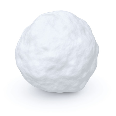 One snowball isolated on white background