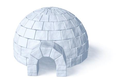 eskimos: Igloo icehouse isolated on white background three-dimensional illustration Stock Photo