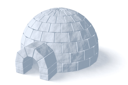 igloo: Igloo icehouse isolated on white background three-dimensional illustration Stock Photo