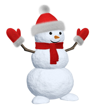mittens: Cheerful snowman with red fluffy hat, scarf and mittens 3d illustration