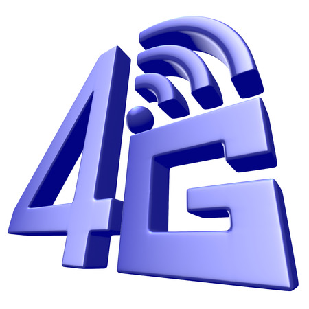 Mobile high speed data connection telecommunication concept: blue abstract 4G LTE wireless communication technology icon symbol isolated on white background photo